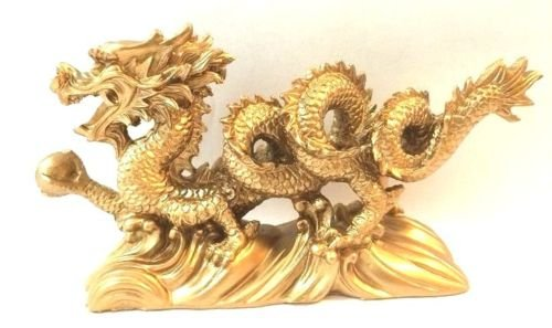 Monkey King TM NEW GOLD Chinese Feng Shui Dragon Figurine Statue for Luck & Success 6 inch LONG ()