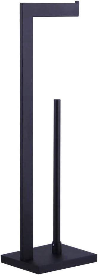 NANA kimzcn Matte Black Toilet Paper Holder Stand Toilet Paper Roll Holder with Shelf Reserve Free Standing Portable Tissue Storage Organization D69035B