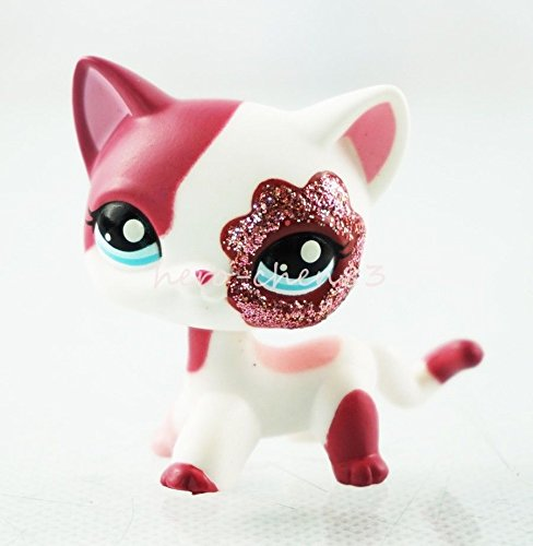 Littlest Pet Shop LPS Pink White Sparkle Glitter Short Hair Cat Kitty Toys #2291 (Cat Sparkle)