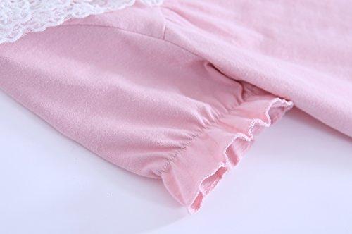 Abalaco Girls Kids Princess Lace Bowknot Nightgown Long Sleeve Cotton Sleepwear Dress Pretty Homewear Dress (6-7 Years, Blue/Short) by Abalaco (Image #3)