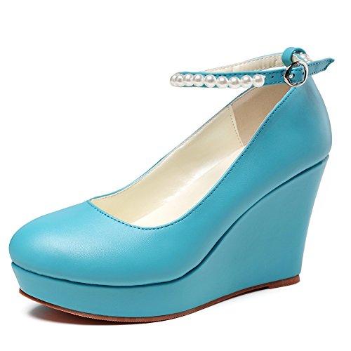 Getmorebeauty Dames Sleehak Mary Jane Diamanten Feestjurk Hoge Hak Blauw