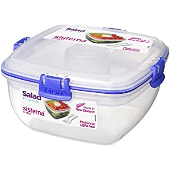 Sistema Klip It Collection Salad to Go Food Storage Container, 37 Ounce/ 4.6 Cup