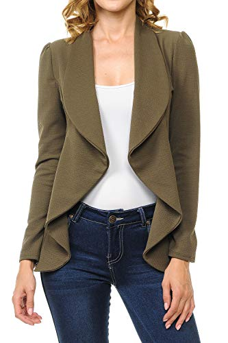 - MINEFREE Women's Long Sleeve Classic Draped Open Front Lightweight Blazer Olive 1XL