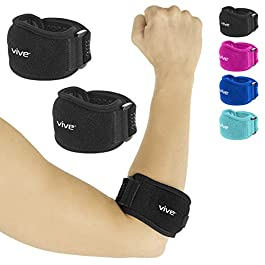 Vive Tennis Elbow Brace (Pair) – Rheumatoid Arthritis Strap For Bursitis, Golfers, Lateral & Medial Epicondylitis, Tendinitis – Padded Compression Arm Support Band – Adjustable Forearm Pain Relief