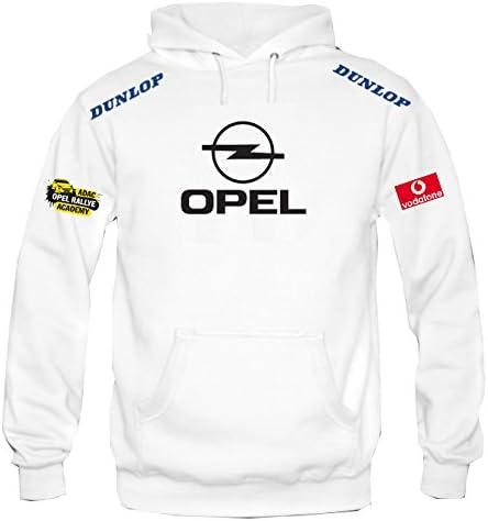 ZETAMARKT Felpa con Cappuccio Opel Dunlop Racing Rally Personalizzata Bianca