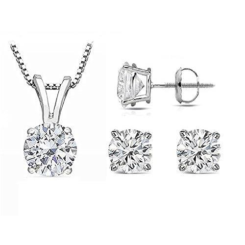 hot PARIKHS Round Diamond Set Premium Quality-ScrewBack 14K White Gold (0.10 ctw, SI2 clarity) get discount