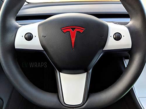 EV Wraps Tesla Model 3 Steering Wheel Wrap (Tesla Interior White)