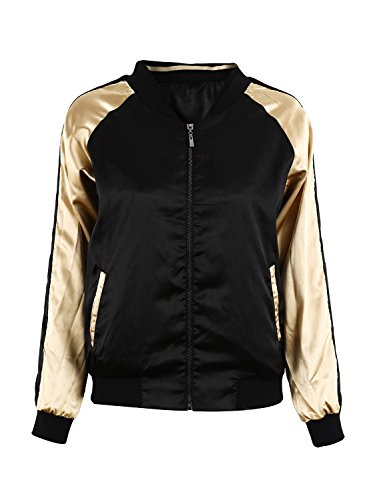 Simplee Womens Casual Floral Embroidery Reversible Satin Bomber Jacket