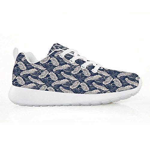 Ivory Lotus Garden Rug - TecBillion Lotus Comfortable Running Shoes,Hand Drawn Leaves and Flowers Eastern Culture Plant Zen Themed Garden Earthy for Kids Boys,EU34