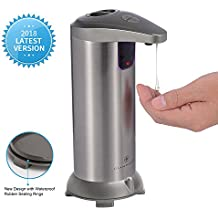 Soap Dispenser, GLAMFIELDS Touchless Automatic Soap Dispenser, Hands-Free Motion Sensor Liquid Dish Soap dispenser, Stainless Steel, Water Resistant for Kitchen & Bathroom [2018 Upgraded Version] Grey