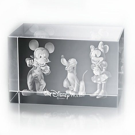 Mickey and Minnie Mouse, and Pluto Laser Cube By Arribas - Walt Disney World Laser Etched