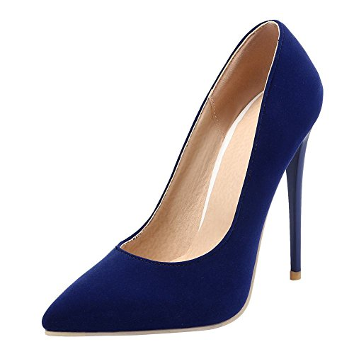 MissSaSa Damen elegant high heel Pointed Toe Pumps mit Stiletto Blau(Nubuck)