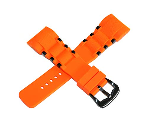 (Swiss Legend 26MM Orange Silicone Watch Strap, Black Stainless Buckle fits 47mm Commander Pro Watch )