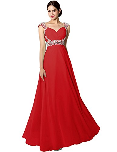 Sarahbridal Women's Chiffon Prom Dress Long Beaded Sequin Celebrity Pageants Party Gowns with Sleeve Red US20