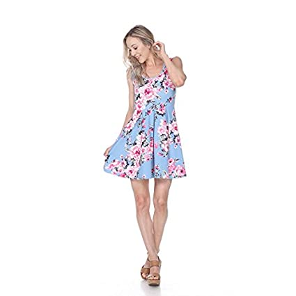 Mili Rose Print Fit and Flare Dress Sleeveless Sundress With Scoop Neckline at Amazon Womens Clothing store: