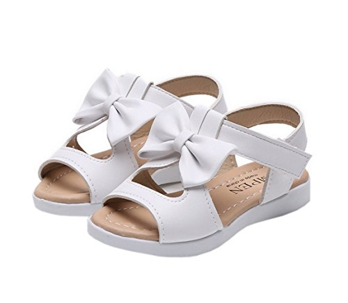 Vokamara Big Girls Fashion Bow Sandals Summer Shoes White 35