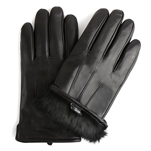 Sandory Men's Luxurious Genuine Leather with Rabbit-Fur Lined Gloves Small Black Fur