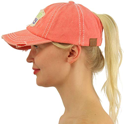 C.C Ponytail Messy Buns Trucker Ponycaps Plain Baseball Visor Cap Dad Hat Distressed Beach Crazy Coral