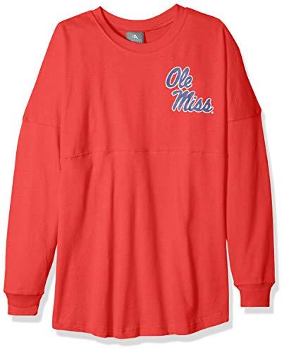 (NCAA Ole Miss Rebels Womens NCAA Women's Long Sleeve Mascot Style Teeknights Apparel NCAA Women's Long Sleeve Mascot Style Tee, Athletic Red, Small)