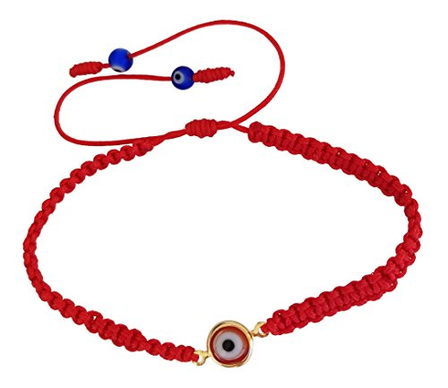 (Lucky Charms USA Evil Eye Red String Protection Bracelet with Red Lucky Eye to Ward Off The Evil Eye Mal De Ojo)