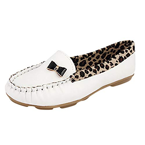 Wintialy Women Shose, Fashion Women Leather Leopard Casual Slip-On Dolly Ballet Flat Heel Loafer Shoes White (Dolly Tom Shoes)