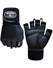 """Atercel Weight Lifting Gloves with 20"""" Leather Wrist Wraps Support, Best Workout Exercise Gloves for Powerlifting, Crossfit, Training, Breathable & Snug fit"""