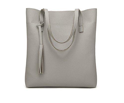LJO Bolsos De Hombro De Las Mujeres De La Textura De Moda Borla De Cremallera Bolso Gray