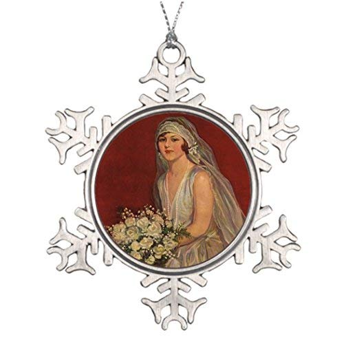 Personalised Christmas Tree Decoration Vintage Victorian Bride Posing for Bridal Portrait Steel Snowflake Ornaments