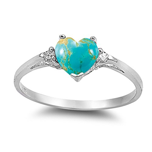 925 Sterling Silver Cabochon Natural Genuine Blue Copper Turquoise Heart Promise Ring Size 4 (Ring Promise Copper)