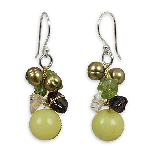 - NOVICA Multi-gem Dyed Cultured Freshwater Pearl .925 Sterling Silver Cluster Earrings, Freshness'