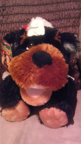 Plush Brown DOG Hand Puppet with Barking Sound & Christmas Hat ()