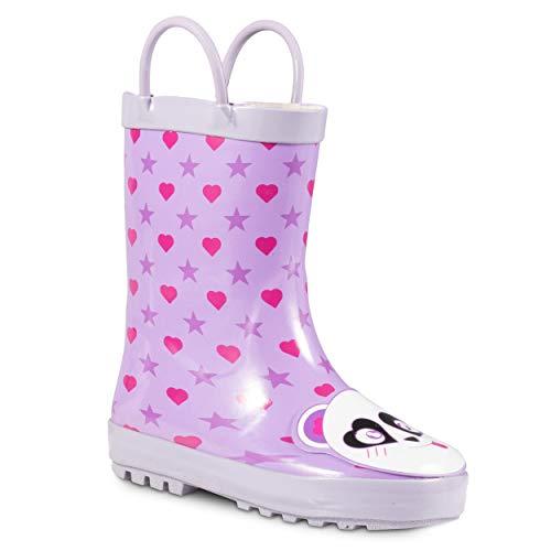 ZOOGS Children's Rubber Rain Boots, Little Kids & Toddler, Boys & Girls Patterns, Purple (Panda Critter)]()