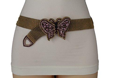 TFJ Women Fashion Vintage Rusty Gold Metal Belt Purple Butterfly Buckle S (Butterfly Purple Belt Buckle)