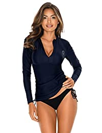 RELLECIGA Women's UV Sun Protection Long Sleeve Rashguard Swimsuit Top