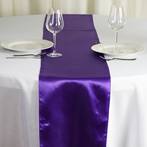 (BalsaCircle 10 pcs 12 x 108 inch Purple Satin Table Runners Wedding Table Top Party Supplies Reception Linens Decorations)
