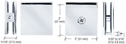 SCU4CH - CRL Chrome Square Style Hole-in-Glass Fixed Panel U-Clamp ()