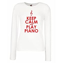 T Shirt Women Play Piano Ain T Got No Wrong Notes X Large White Red