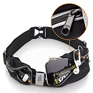 Sport2People Running Belt USA Patented – Hands-Free Workout Fanny Pack – iPhone X 6 7 8 Plus Buddy Pouch for Runners – Freerunning Reflective Waist Pack Phone Holder – Fitness Gear Accessories
