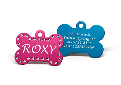 Providence Engraving Custom Engraved Pet ID Tags with Swarovski Crystal - 1.5