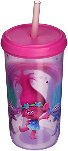 Zak Designs Trolls Movie 13 oz. Plastic Cup with Lid, Poppy, DJ Suki, Satin & Chenille and -