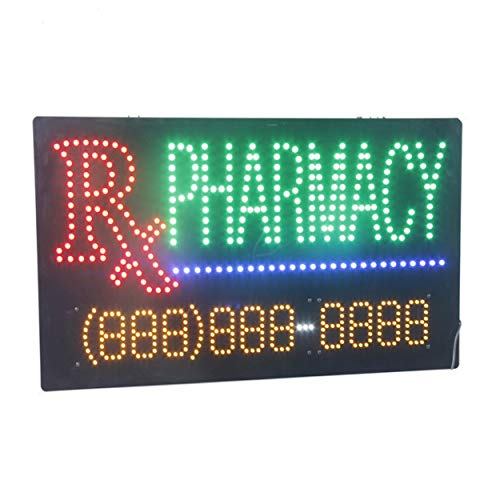 LED Pharmacy Open Light Sign Super Bright Electric Advertising Display Board for Drugstore Chemists's Shop Store Window Bedroom Decor 31 x 17 inches]()