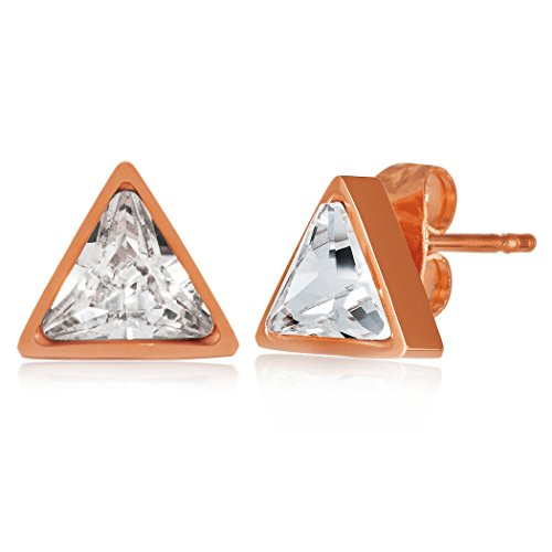 ELYA Jewelry Womens Rose Gold IP Polished Cubic Zirconia Triangle Stainless Steel Stud Earrings, One Size