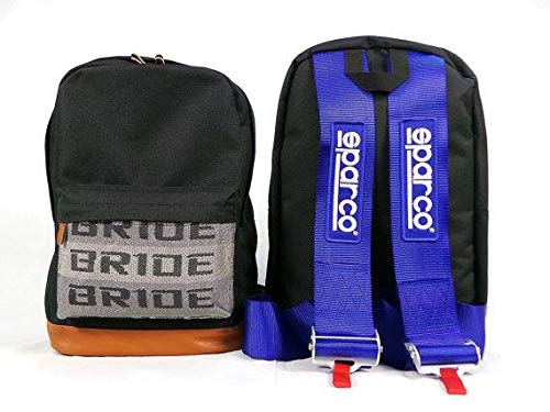 Kei Project Bride Racing Backpack Brown Bottom with SPR Harness Straps (Blue)