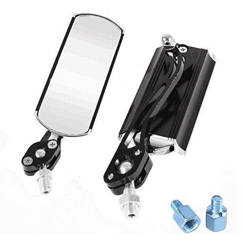 niceEshop(TM) Universal Scooter Side Rear View Mirrors with 10mm 8mm Adapter for Kawasaki Suzuki Honda Victory Motorcycles (Black)