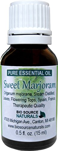 Sweet Marjoram (Origanum majorana) Pure Essential Oil 30 ml / 1.0 oz - GC Verified, Therapeutic Quality, 100% Pure, Undiluted, Concentrated by Biosource Naturals