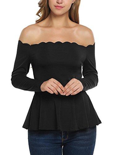 Zeagoo Women's Strapless Scallop Hem Peplum Off Shoulder Fit Flare Peplum Blouse Black XL