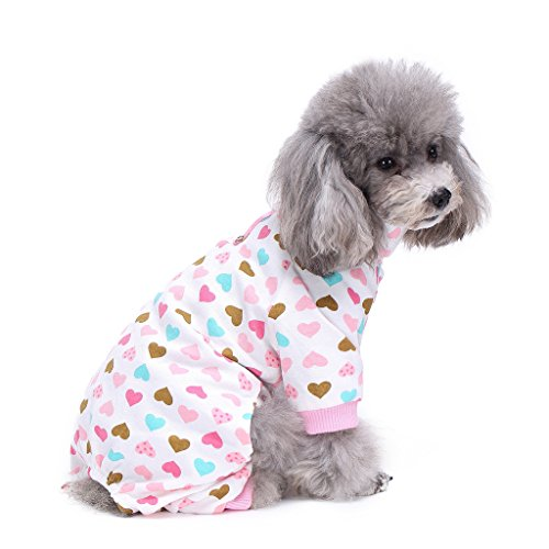 S-Lifeeling Dog Costumes for Indoor Outdoor Turtleneck Love Pattern Comfortable Puppy Pajamas Soft Dog Jumpsuit Shirt Best Gift 100% Cotton Coat for Medium and Small Dog -