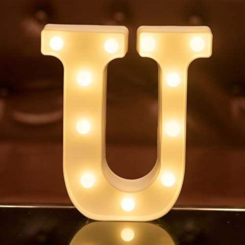 Focux LED Marquee Letter Lights Alphabet Light Up Sign for Night Light Home Party Birthday Wedding Bar Decoration LED Letter Battery Powered Christmas Night Light Lamp Home Bar Decoration (U)