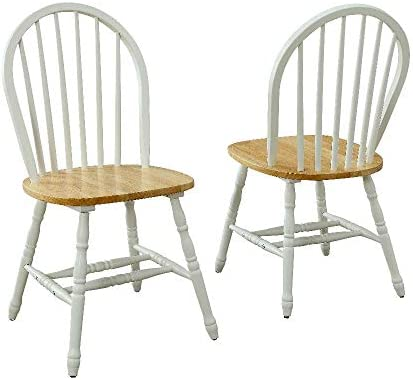 Set of 2 Dining Chairs Wood Solid Construction and Durable Easy Assembly