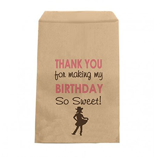 Cowgirl Birthday Candy Bags - Girls Birthday Thank You Favor Bags - 6.25
